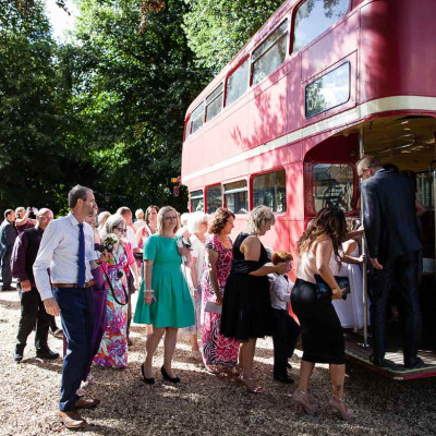 wedding red double decker bus