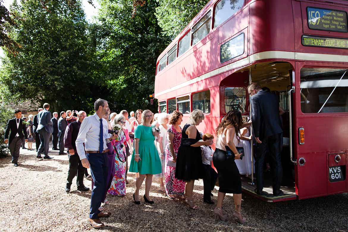 wedding red double decker bus