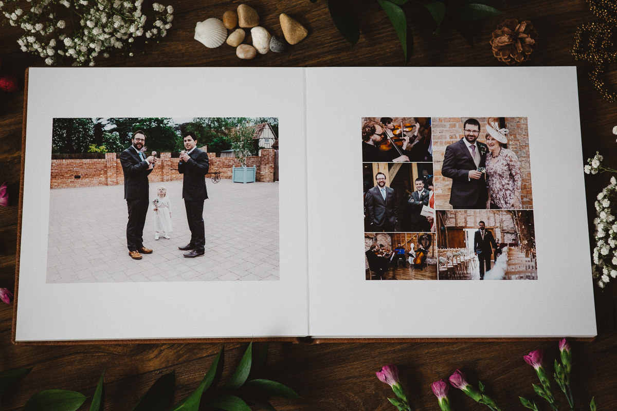 two pages spread Peterborough wedding photographer's album