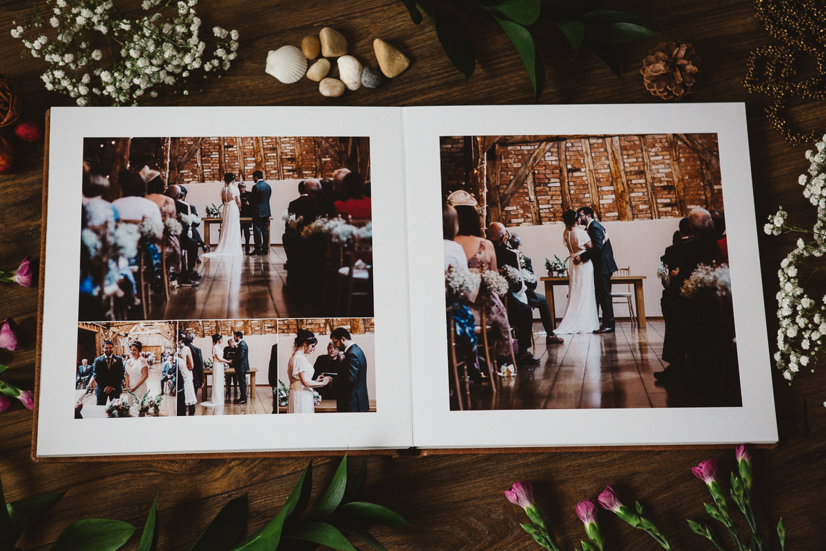 Bassmead Manor wedding printed in the wedding album by Peter Oliver
