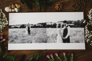 B&W photos printed in wedding book