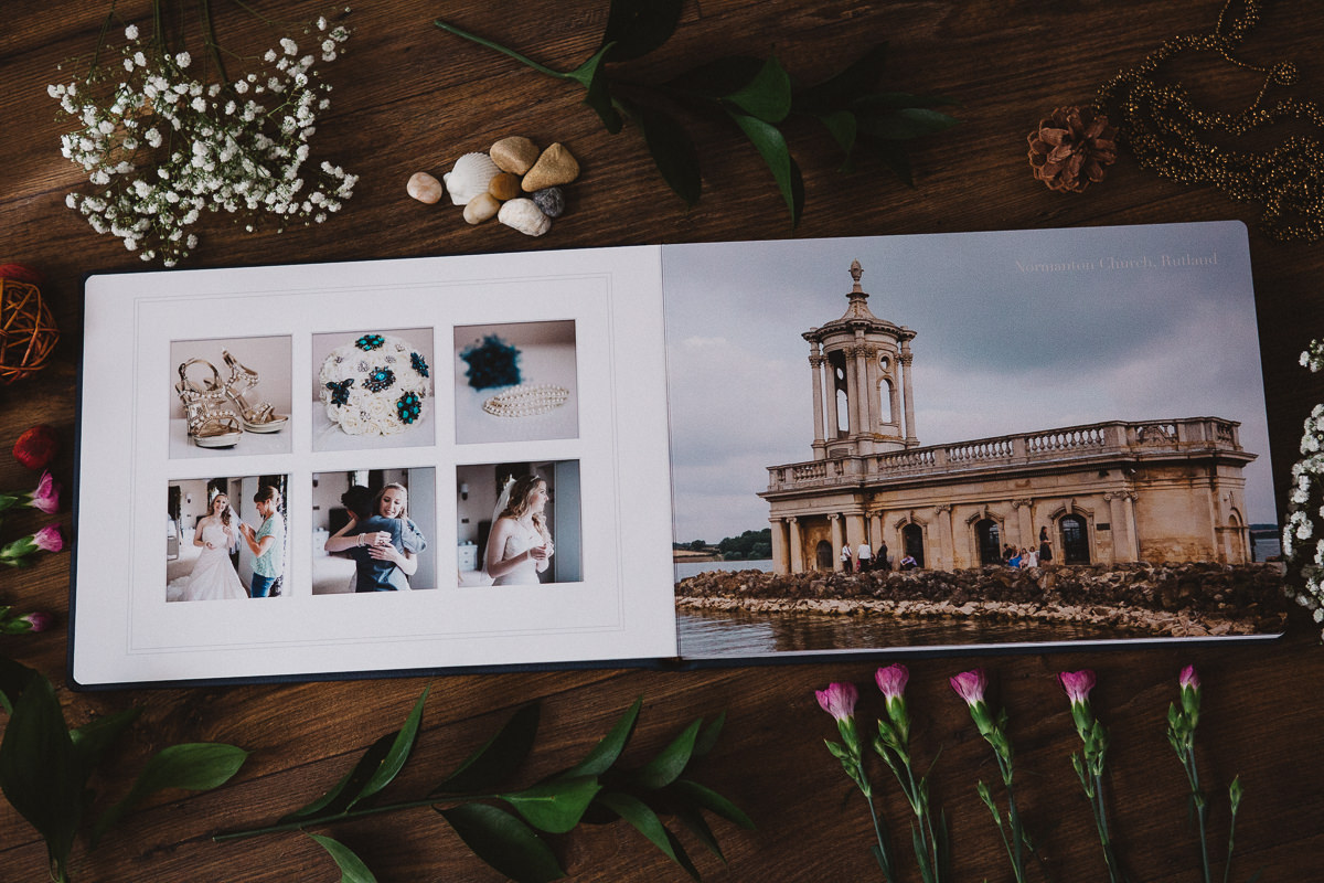 Normanton Church wedding photographs printed in wedding album