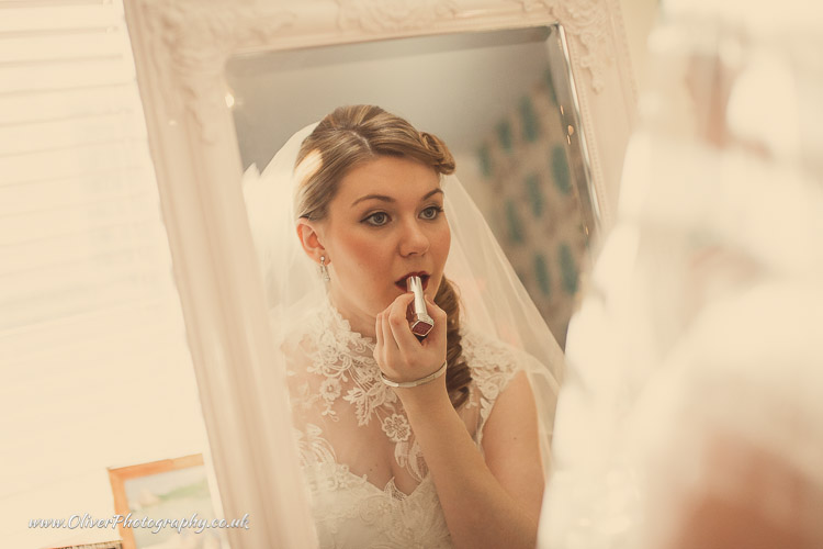Bride getting ready vintage wedding