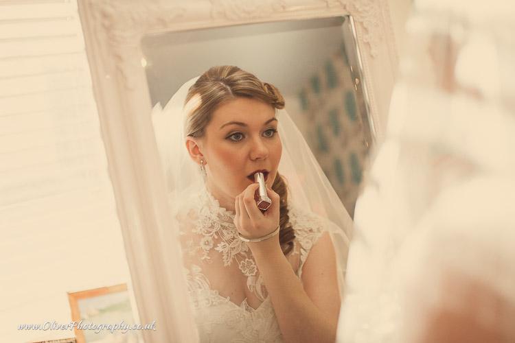 Bride getting ready vintage wedding