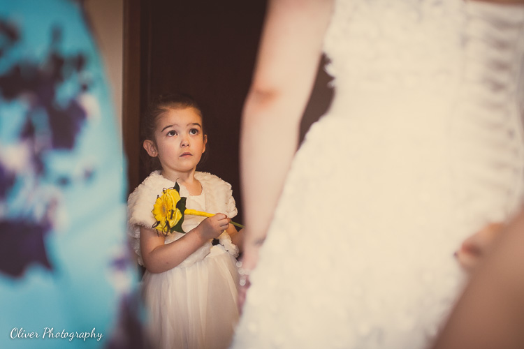 flower girl with yellow flowers