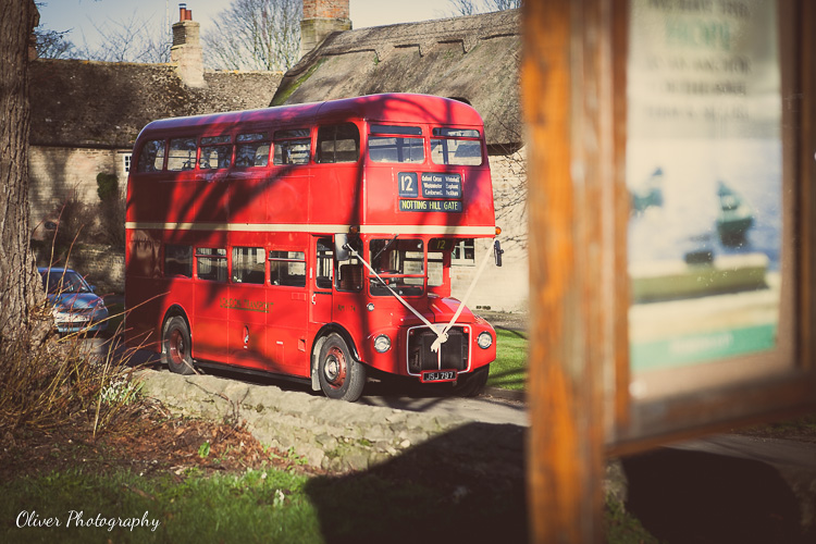 red double-decker wedding bus