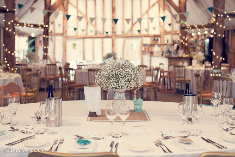 The Tudor Barn with a wedding decorations