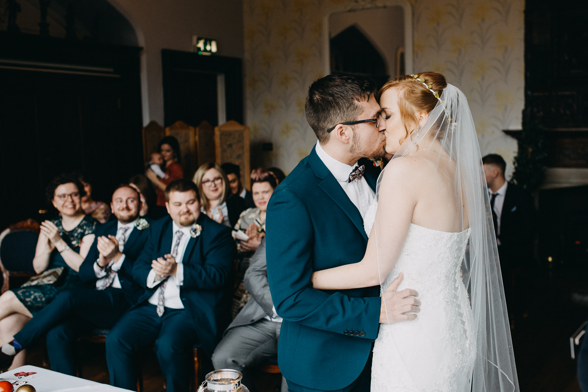 the first kiss - Wroxall Abbey Wedding Photography