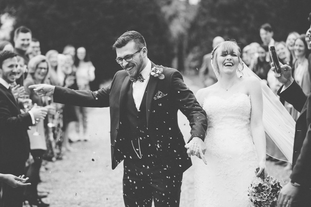 confetti wedding photography at Wroxall Abbey