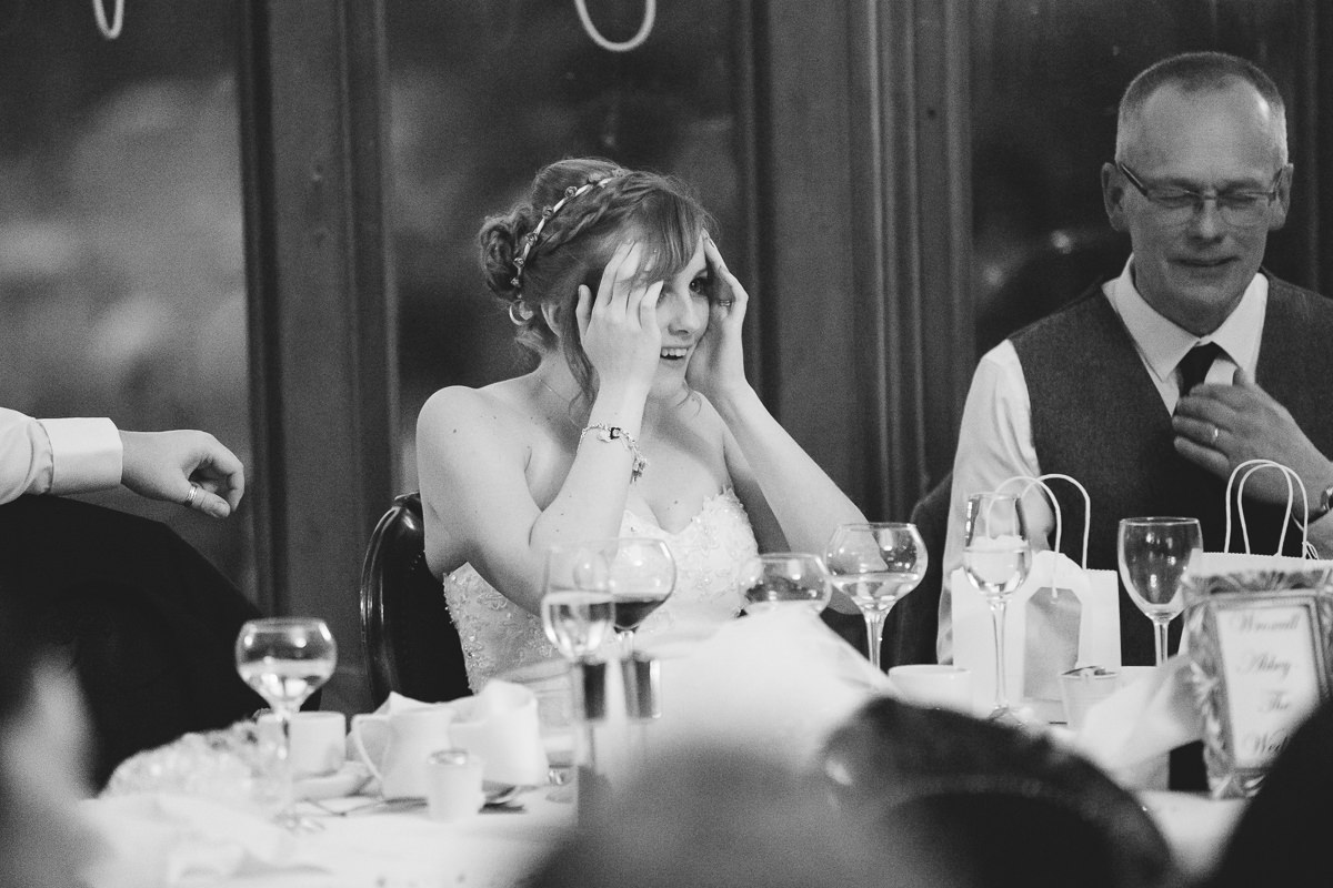 bride reaction during the speeches
