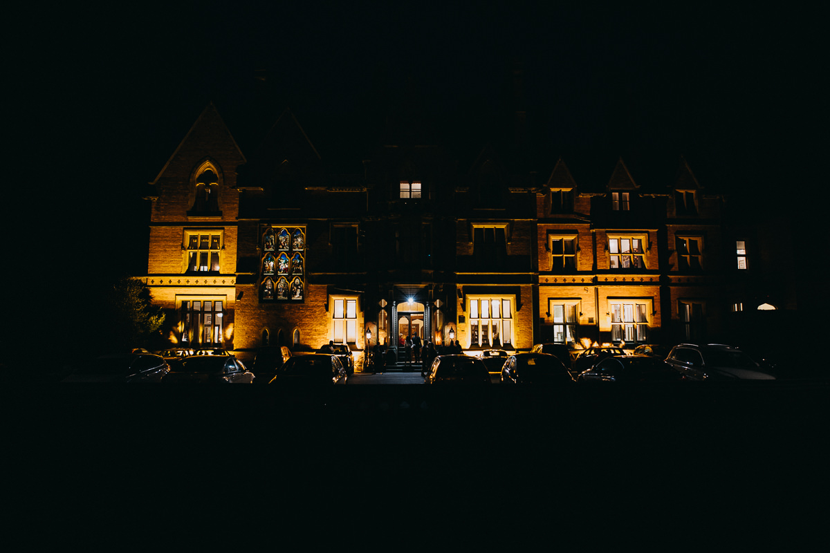 Wroxall Abbey at night