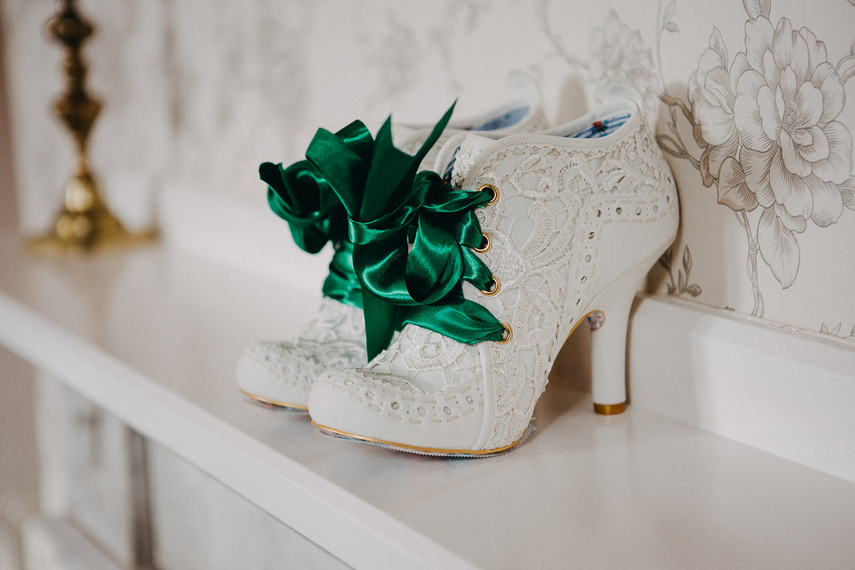 wedding shoes with green laces