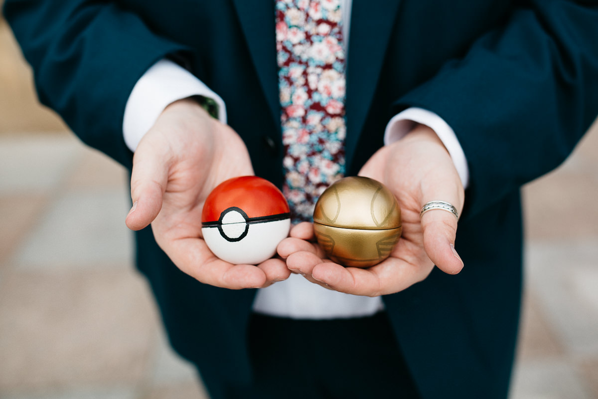 Pokemon themed wedding rings boxes - pokeballs for rings