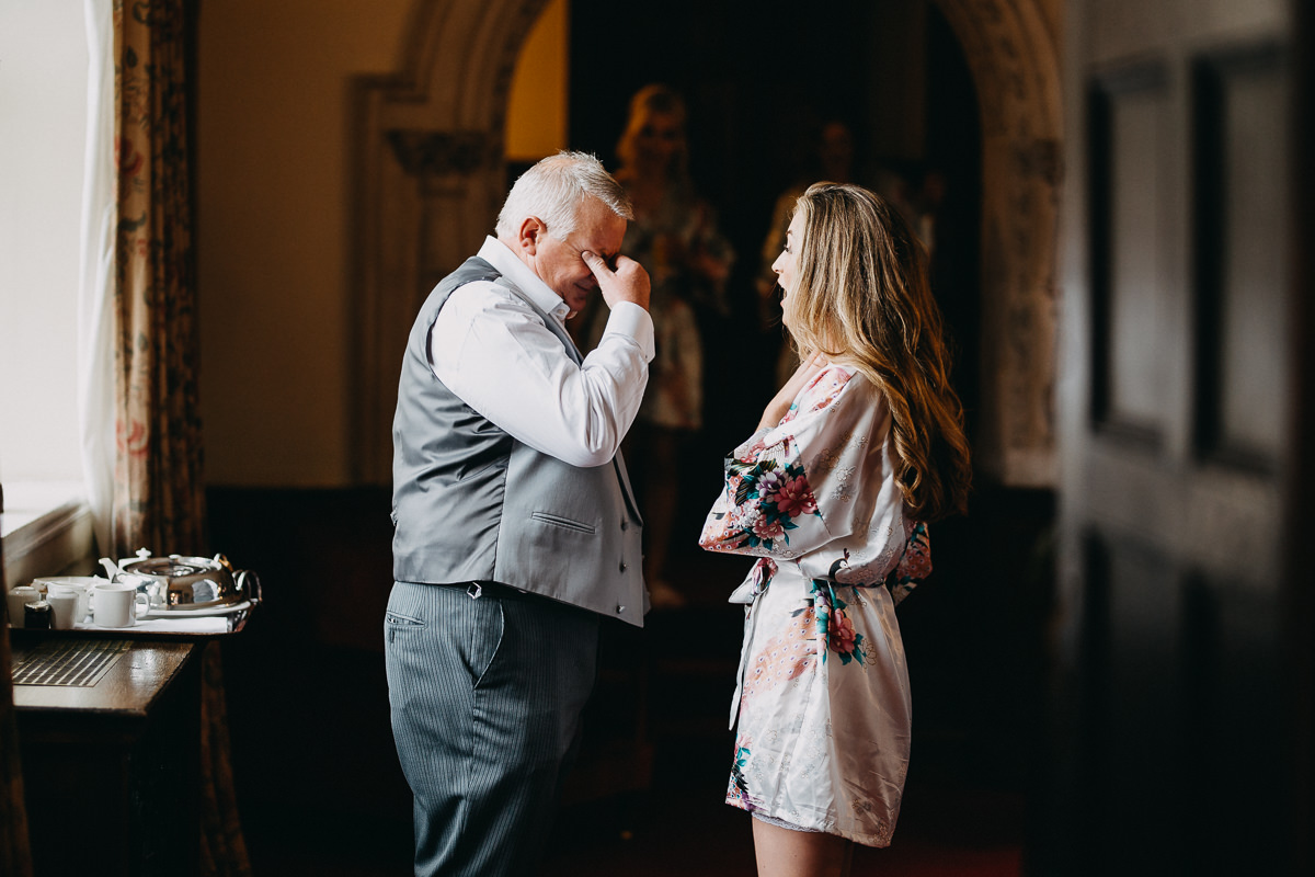 father of the bride having an emotional moment