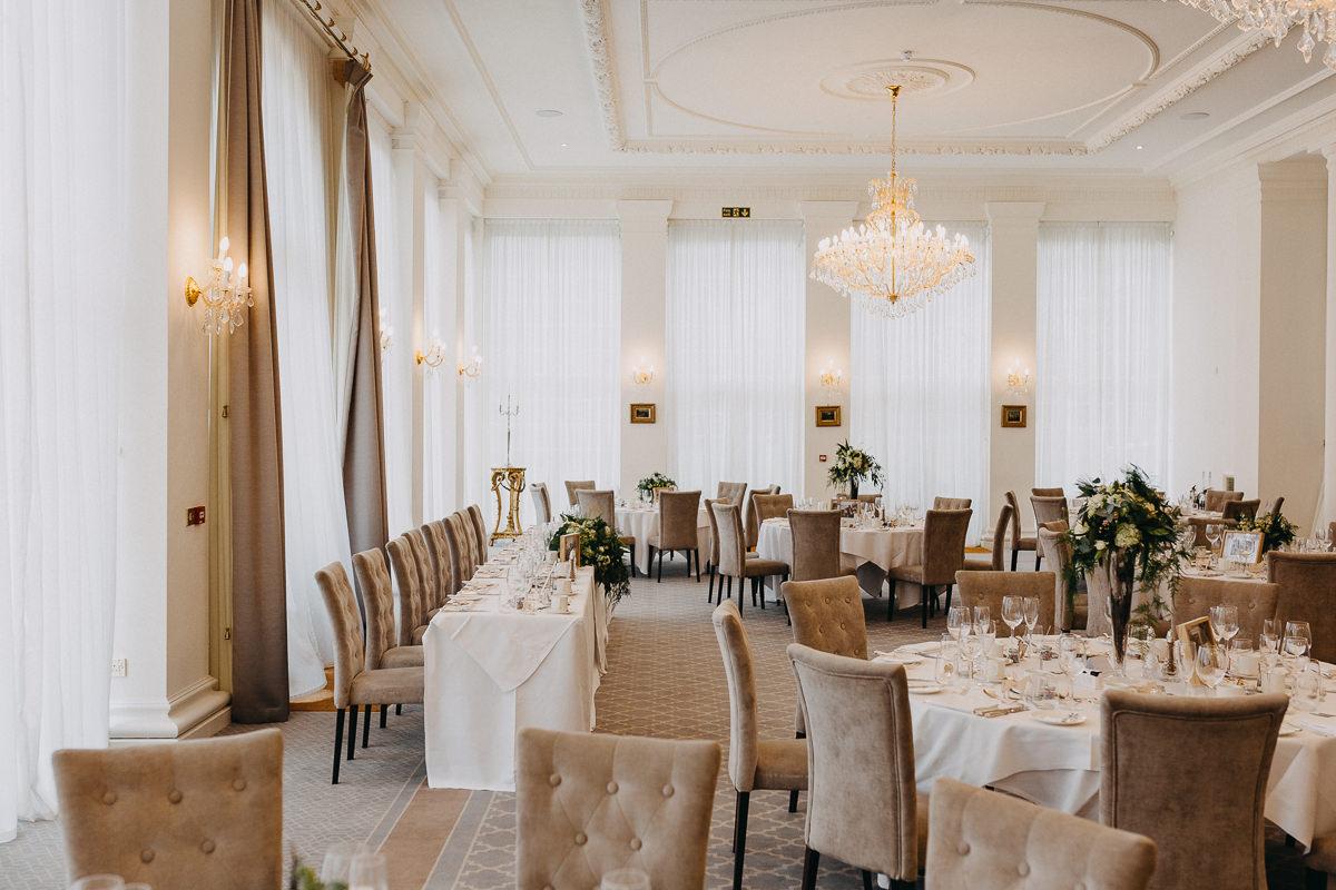 orangery at Rushton Hall wedding breakfast set up