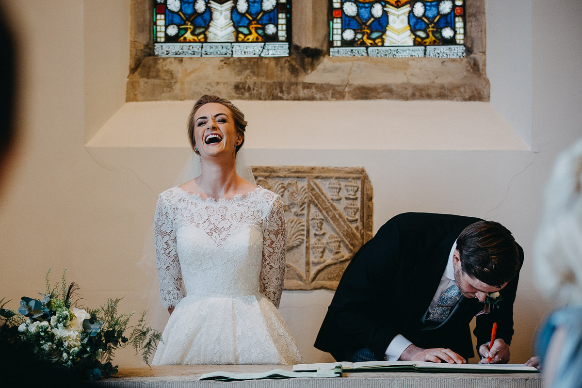 signing of the register during the church marriage ceremony