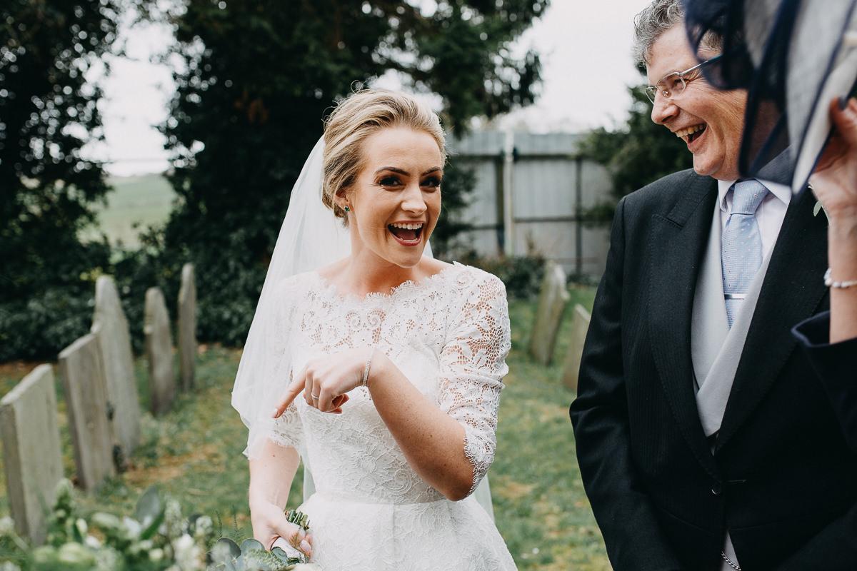 happy just married bride