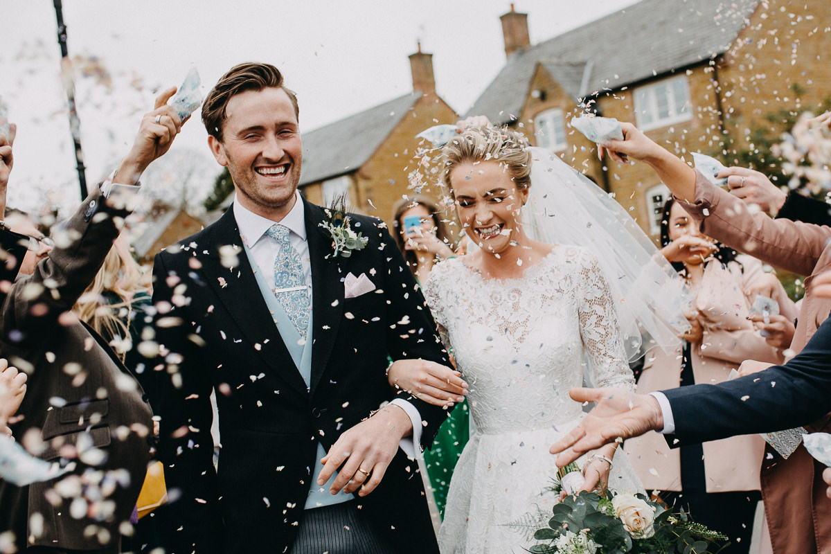 confetti Rushton Hall church wedding