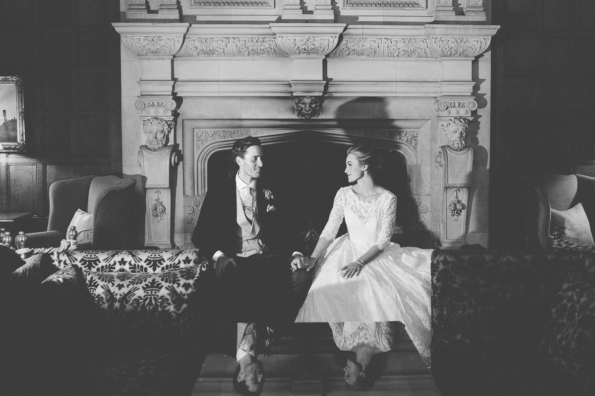 bride and groom in Rushton Hall room